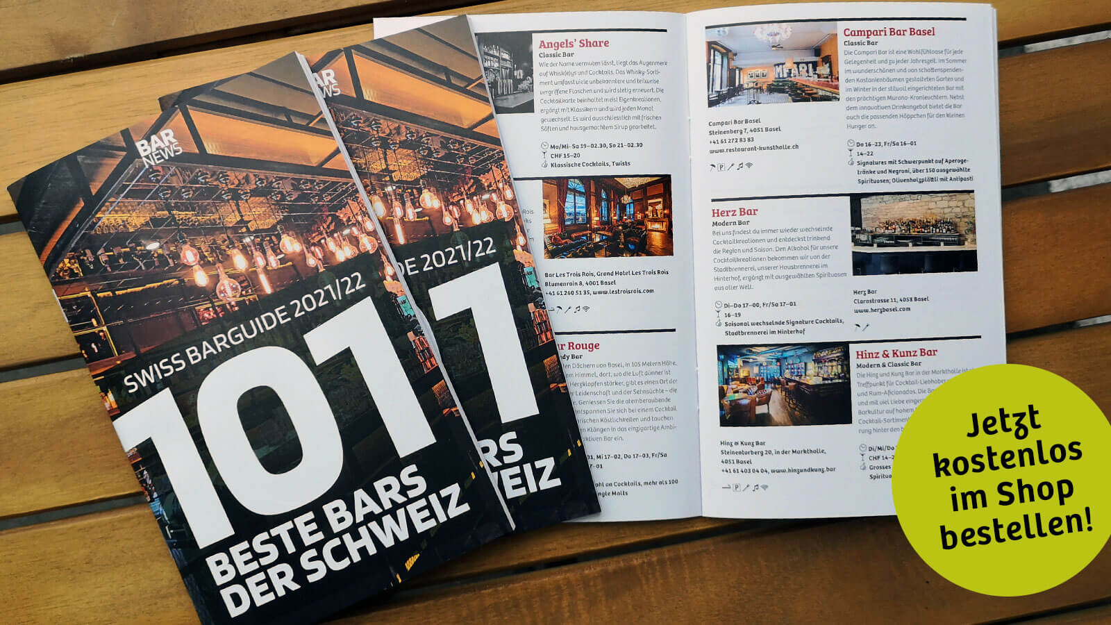 Die 101 besten Bars der Schweiz im handlichen Booklet des Swiss Barguide.